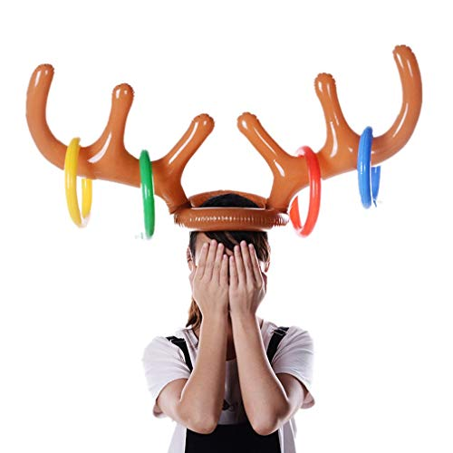 Livoty Ring Toss Game 2-Player Inflatable Reindeer Christmas Hat Antler Ring Toss Game for Christmas Party -