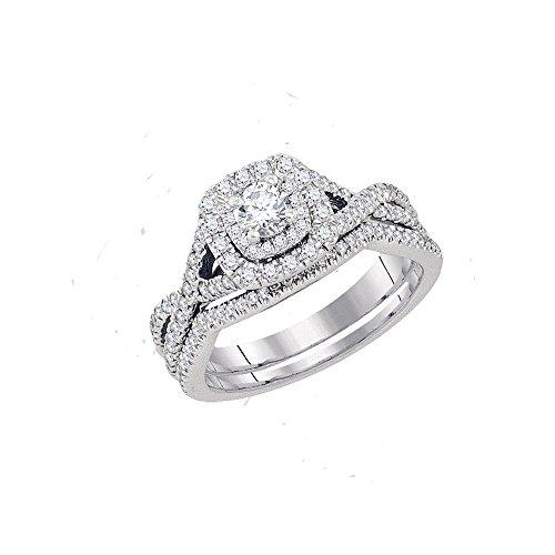 Sonia Jewels Size 7-14k White Gold Round Diamond Twist Bridal Wedding Engagement Ring Band Set (3/4 Cttw) (Certified)