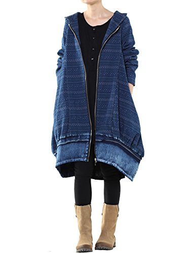 Mordenmiss Women's New Loose Fit Hoodie Zipper Up Denim Trench Coat With Pockets, Style 1-blue, Large by Mordenmiss (Image #1)