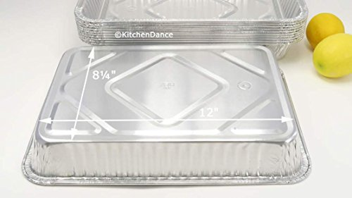 KitchenDance Disposable Aluminum 13 x 9 x 2 Cake pans with Lids- Pack of 12 pans & 12 Lids by KitchenDance (Image #6)