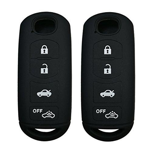 2Pcs Coolbestda Rubber 4buttons Smart Key Fob Full Protector Remote Skin Cover Case Keyless Jacket for Mazda 3 6 CX-5 CX-7 CX-9 MX-5 Miata Toyota Yaris Black