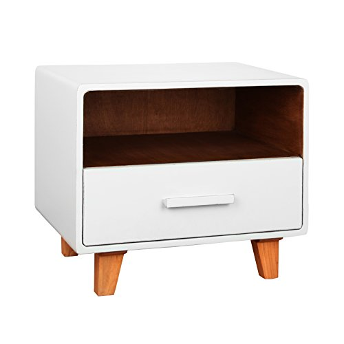 Antique Revival Cleo 1 Drawer Nightstand, White by Porthos Home