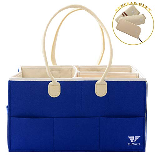 Diaper Caddy - Waterproof Nursery Storage Bins and Car Organizer for Diapers and Baby Wipes - Baby Shower Gifts