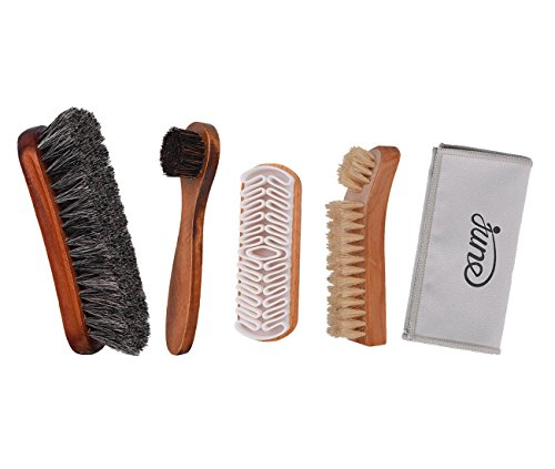 Shoe Shine Brush Kit 4 in 1 with Soft Horsehair Bristle Brush, Crepe Suede Brush, Boar Bristle Brush and Dauber Shoe Brush for Leather Cloth, Boot, Bag, Suede, and Sneakers
