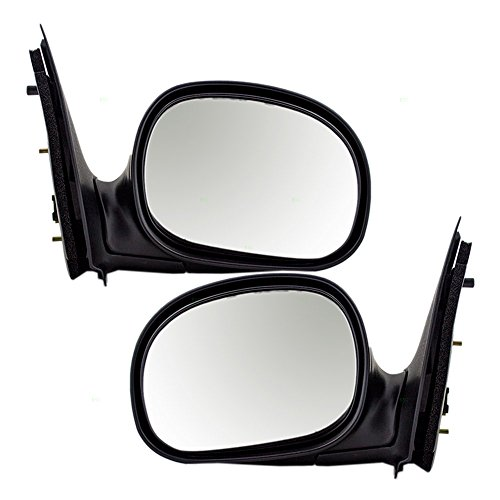 Driver and Passenger Manual Side View Contour Type Mirrors Chrome Covers Replacement for Ford Pickup Truck F85Z17683BAAPFM F85Z17682BAAPFM ()