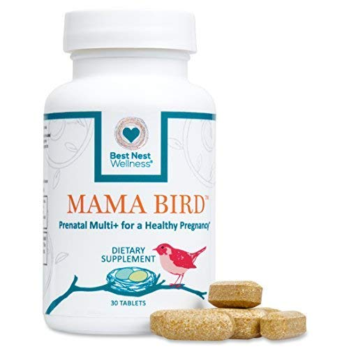 Mama Bird Prenatal Multivitamin | Methylfolate (Folic Acid), Methylcobalamin (B12), 100% Natural Whole Food Organic Herbal Blend, Vegan, Once Daily Prenatal Vitamins, 30 Ct, Best Nest Wellness