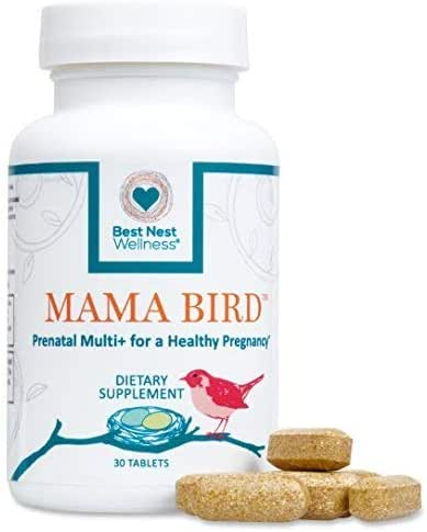 Mama Bird Prenatal Multivitamin, Methylfolate (Folic Acid), Methylcobalamin (B12), 100% Natural Whole Food Organic Herbal Blend, Vegan, Once Daily Prenatal Vitamins, 30 Ct, Best Nest Wellness