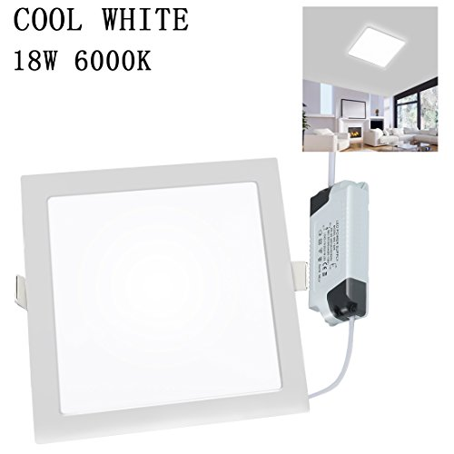 Flat Aluminum Panel (LED Recessed Panel Light Square Ceiling Panel Ultra Slim Flat Panel Down Light for Home Living Room Bathroom Dining Room Corridor Conference Room Office Gazebo Energy Saving 18W 6000K 1080LM TXYDLED)