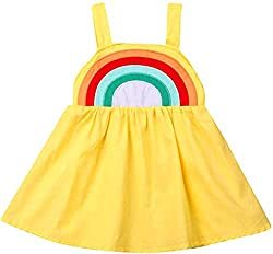 Baby Girl Dress Clothes Toddler Girls Princess Sleeveless Tutu Rainbow Sling Skirt