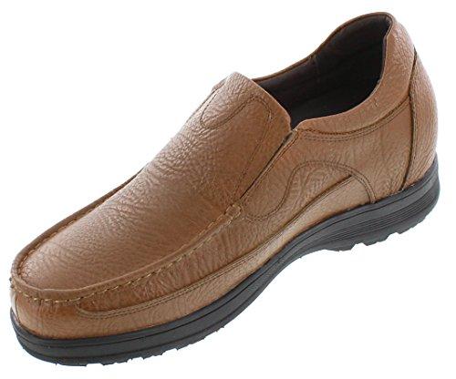 Calto G1827-3 Pouces De Hauteur - Hauteur Augmentant Les Chaussures Dascenseur - Marron Slip-on Léger