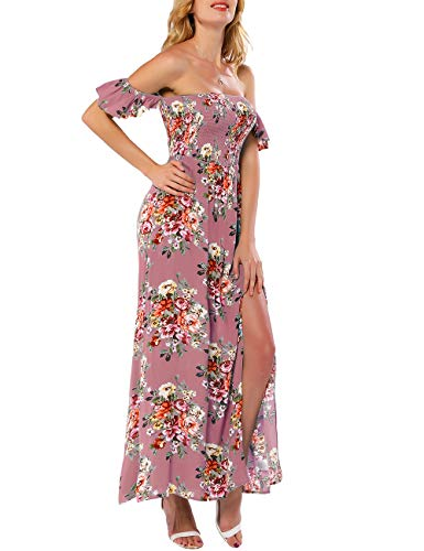 Shell Tip - Azalosie Women Off Shoulder Maxi Dress Maternity Floral Short Sleeve Empire Waist Slit Dress Summer Party Beach