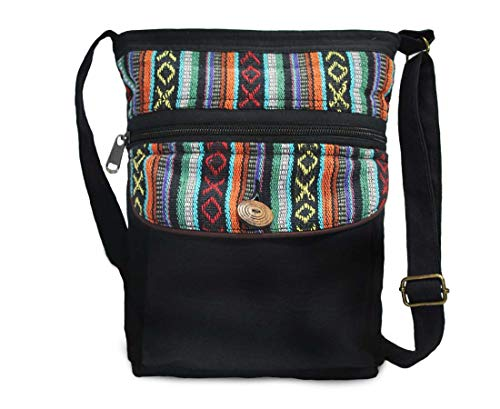 Mato Boho Crossbody Bag Shoulder Side Purse Bohemian Woven Tribal Aztec Pattern Black