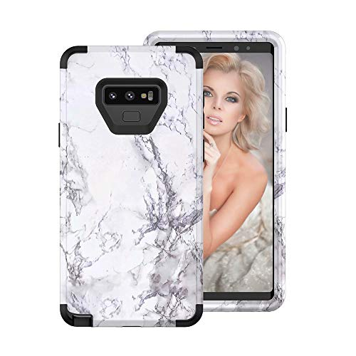 Price comparison product image Buybuybuy Galaxy Note 9 Case,  Granite Marble Contrast Color PC Hard Phone Cover Hybrid Shockproof Hard Back Durable Bumper Protective Phone Case Cover for Samsung Galaxy Note 9 (2018) (Black)