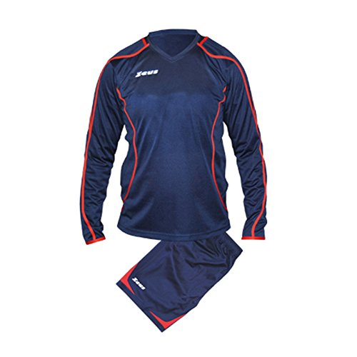 Zeus Herren Kinder Set Trikot Shirt Hosen Klein Armel Kit Fußball Hallenfußball KIT FAUNO M/L BLAU ROT (XXL)