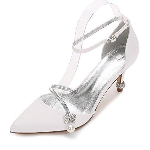 29 de Wedding Mariage Soirée 17767 Talon YC des de Chaussures Toe Pompe L Chaussures Femmes Ivoire de Cône D'Été Party Base Fermé amp; E0Aw1tq