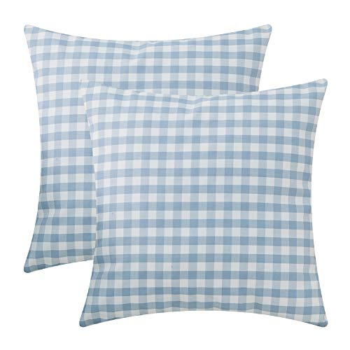 Plaid Pillow Pack - Plaid Throw Pillow Covers for Couch - 2 Pack,Soft Polyster Cotton,Small Buffalo Checkered Pattern - Decorative Sofa Cushion Covers,Square Pillow-cases for Living Room,Bedroom,Car(Blue,18 x 18 Inch)