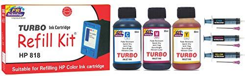 TURBO INK CARTRIDGE REFILL KIT for Hp 818 Multi Tri Colour Ink Cartridge