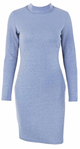Sleeve Dress Long Solid Turtleneck Jaycargogo Fashion Blue Women's Evening Xa6HKwx0