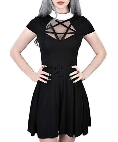 Enfei Halloween Womens Pentagram Mesh Dress Gothic Vintage Romantic Casual Short Sleeve Dress for Women -