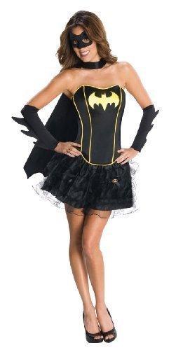 Ladies Batgirl Supergirl Wonder Woman Robin Super Hero Corset Tutu Halloween Hen Do Fancy Dress Costume Outfit 6-18 (UK 8-10, Batgirl) ()