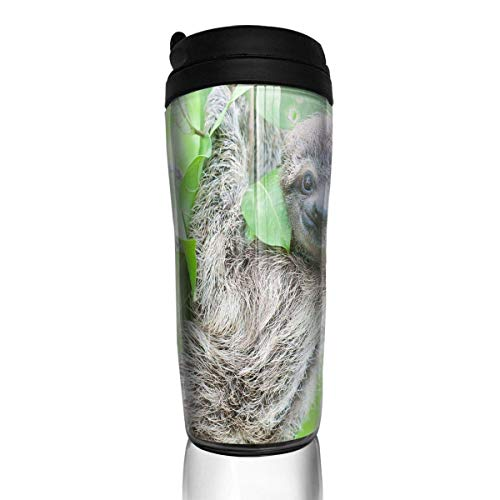 Custom Reusable Coffee Cup Cute Sloth Tumbler Vacuum-Insulated Travel Mug Hot Or Cold,12 Oz.with Lids -