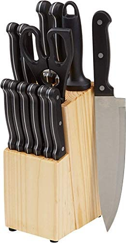 Amazon Basics 14-Piece Kitchen Knife Set with High-Carbon Stainless-Steel Blades and Pine Wood Block