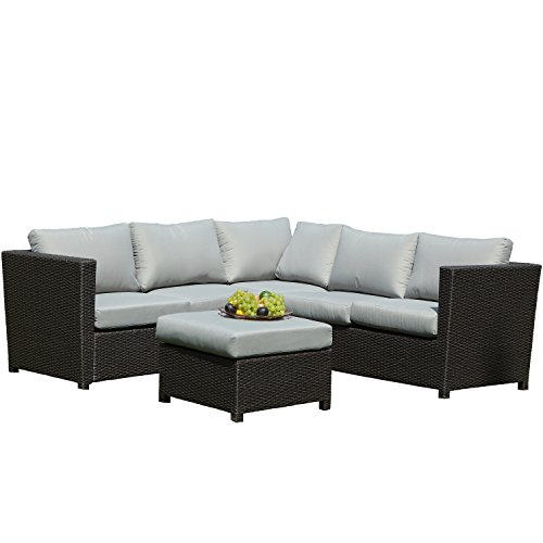 SeCortile 3PC Patio Sectional Rattan Sofa Set Outdoor Garden Furniture with Waterproof Seat Cushions, Lumbar Support Cushions