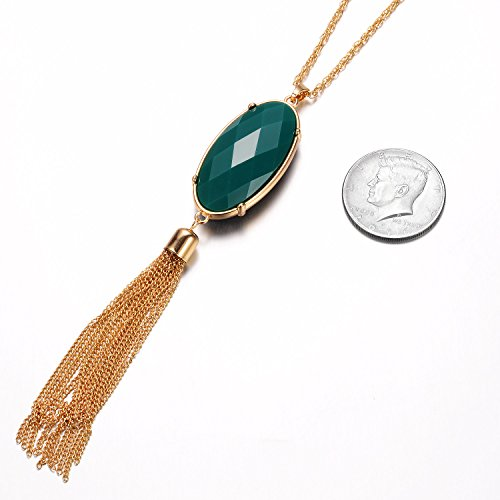 Large Product Image of HUIMEI Long Tassel Pendant Necklace with Double Color Oval Shape Stone Reversible Pendant