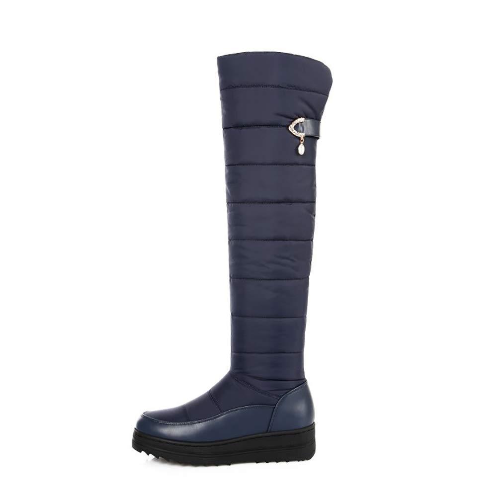 Hy Frauen-Stiefel-Winter-künstliches PU-warme windundurchlässige hohe Stiefel/Damen-Flache Over-Knie-Aufladungen/Schnee-Aufladungsstiefel/Reitstiefel-gehende Schuhe (Farbe : Blau, Größe : 38)