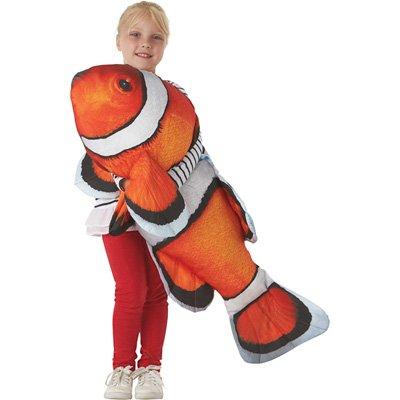 Tree House Kids Giant Clown Fish Pillow, Orange and White, 48'' x 10''