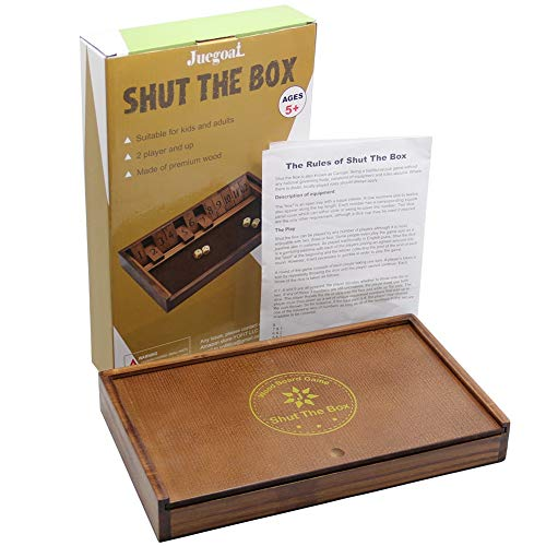 Juegoal Shut The Box Wooden Board Dice Game with 12 Numbers and Lid for Kids Adults Families, 2 Players and Up