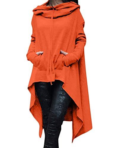 Arancia Arancia Colore Size Alto Irregular Irregular Cappuccio Donna Ragazza Eleganti Swag Hoodie Felpe Chic Moda con Plus Basso Vestito Felpa Felpe Autunno Streetwear Lunga Invernali Vestiti Puro Fqwx0SaSO