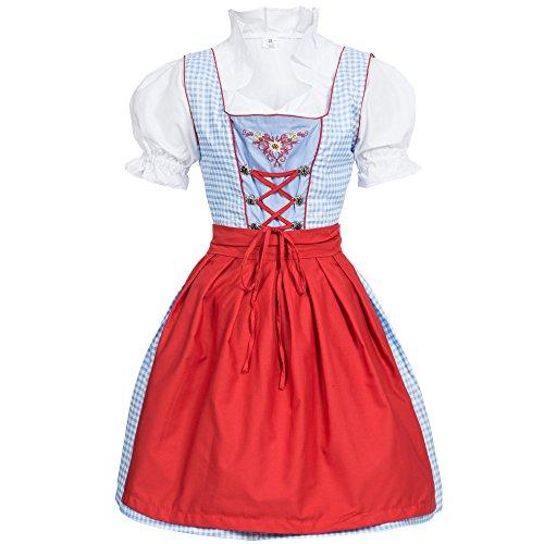 Dirndl 3 tlg.Trachtenkleid Kleid, Bluse, Schürze, Gr. 40 hellblau/weiss kariert