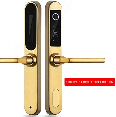 E6800Sデジタル生体認証指紋ロックキーレススマートドアロック指紋+パスワード+ RFIDカード+キー4つの方法のロック解除-ゴールド