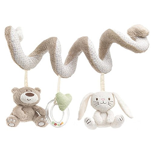 Finebaby Bedtime Bear Plush Bear Hanging Rattle Toys Bed Bell Spiral Activity Hanging Travel Toys with Mobile Ornament for Infant Baby Crib Pram Stroller ()