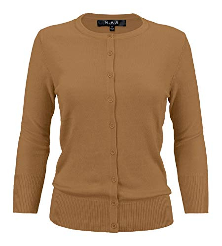 YEMAK Women's 3/4 Sleeve Crewneck Button Down Knit Cardigan Sweater - Camel Cardigan