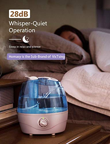 Homasy VicTsing 2.2L Cool Mist Humidifiers, Quiet Ultrasonic Humidifier for Bedroom, Easy to Clean Air Humidifier, Last Up to 24 Hours, Auto Shut-Off, Adjustable Mist Output