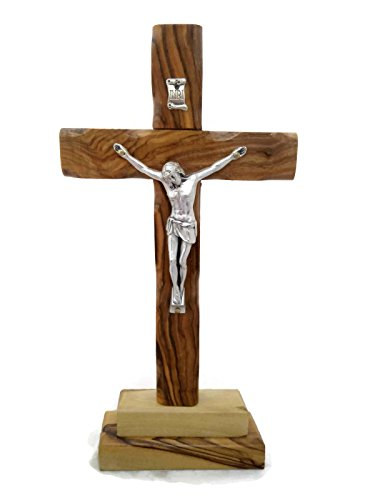 First Communion Crucifix - HolyRoses Olive Wood Standing Christian Cross Crucifix Table Altar (8