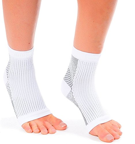 Moja Sports Ankle Compression Socks Plantar Fasciitis Foot Sleeves for Arch Support - Relieve Pain, Eases Swelling & Heel Spurs - Better Than Night Splint or Brace (Wht-LgXL-1Pr)