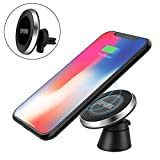 TOPVORK Wireless Car Charger Mount, Fast 10W Magnetic Qi Wireless Charging Phone Holder Air Vent and Dashboard Vehicle Phone Charger for Samsung Note 8/S8/S8+/S7/S6, iPhone X/8+/8 QI-Enabled Devices