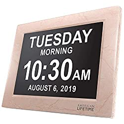 American Lifetime [Newest Version] Day Clock - Extra Large Impaired Vision Digital Clock with Battery Backup & 5 Alarm Options (Beige)