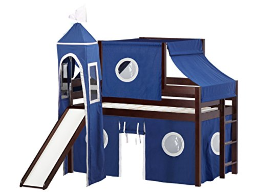 JACKPOT! Castle Low Loft Bed with Slide Blue & White Tent and Tower, Loft Bed, Twin, ()