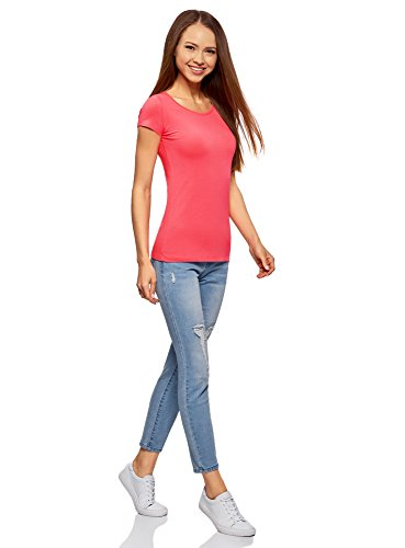 oodji Ultra Mujer Camiseta Básica Entallada Rosa (4D00N)
