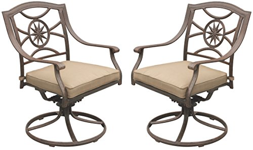 Darlee Ten Star Cast Aluminum Swivel Rocker Dining Chair with Seat Cushion, Set of 2, Antique Bronze Finish (Rockers Swivel Outdoor)