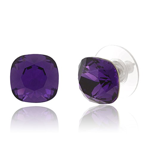 Shaped Bead Cushion (LESA MICHELE 10mm Cushion Shaped Solitaire Stud Gift Earrings for Women in Stainless Steel made with Swarovski Crystals (Purple))