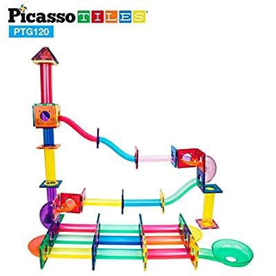 PicassoTiles Marble Run 120 Piece Magnetic Building Blocks Magnet Tile Construction Toy Playset STEM Learning Educational Block Child Brain Development Kids Toys for Boys and Girls Age 3 and Up: Toys & Games