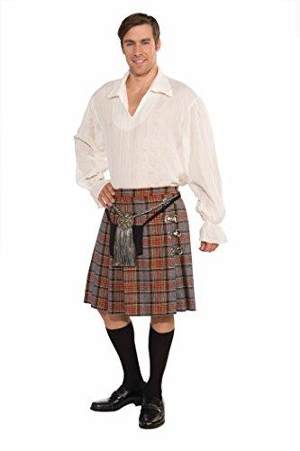 Forum Highlander Kilt and Shirt, Red/Grey, Small Costume