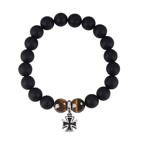 Jeka Christian Cross Charm Bracelet Anxiety Gemstone 10mm Black Onyx Agate Tiger Eye Stone Handmade Braided Energy Beaded for Men Women Wrap Wrist Religious Birthday Gift