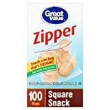 Great Value Zipper Square Snack 100 Bags, Pack of 3