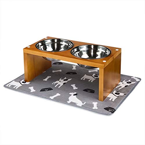 Yangbaga Elevated Dog Bowls, Raised Dog Bowls with Stainless Steel Dog Bowls, Came with Anti-Slip Feet for The Stand and Noise Preventing Bulges for Bowls (17.6 9.2 7.2 in)